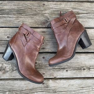 Franco Sarto Stacked Heel Leather Ankle Boots